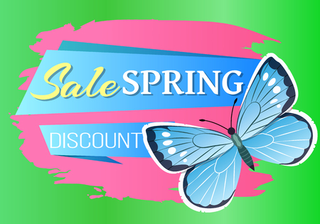 Sale spring discount label blue butterfly with dots, wings with ornaments and antenna, morpho springtime creature vector promo price off reduce concept emblem Illustration