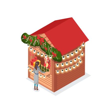 Dame juste de Noël achetant le pin artificiel du vecteur de kiosque. Boutiques en bois décorées d'épicéa, de guirlandes et de rubans d'arcs, vacances d'hiver