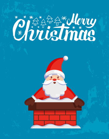 Merry Christmas major card with Santa look out from chimney. Vector cartoon Jack Frost stuck in stovepipe. Character of Father Xmas on blue background