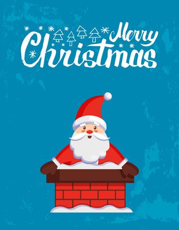 Merry Christmas major kartka z Mikołajem wychodzi z komina. Wektor kreskówka Jack Frost utknął w rurze stołowej. Postać Ojca Xmas na niebieskim tle