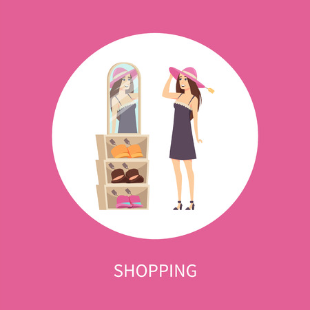 Shopping woman client in circle, trying headwear on head vector isolated. Customer lady wearing hat and looking in mirror. Price tags on caps for women 일러스트