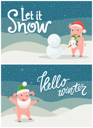 Let it snow, hello winter cards with greetings vector. Piglet wearing Santa Claus hat and long white beard, imitating character. Pig building snowman Illustration