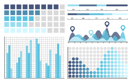 Infographics business concepts in visual form vector. Schemes with scales and numbers, pointer with peaks designation. Flowcharts graphics information