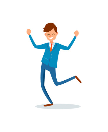 Man happy with achievements, lucky businessman flat style vector. Worker with smile on face, successful manager jumping, leader smiling celebrating