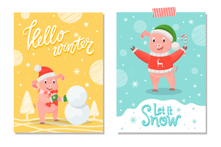 Hello winter and let it snow, pig in red sweater with reindeer, green hat and candy stick on background of snowflakes. Greeting card with piglet making snowman Illustration