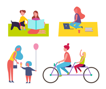 Freelancer working in park, sitting on blanket surrounded by books and coffee. Isolated icons set, family mother and kid with balloon, bikers vector Illustration
