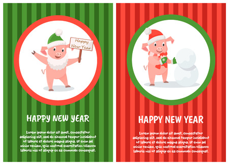 Happy New Year postcard, cartoon pig wishes Merry Christmas. Piglet making snowman, sign board with greetings in paws, round frames on striped backdrop 일러스트