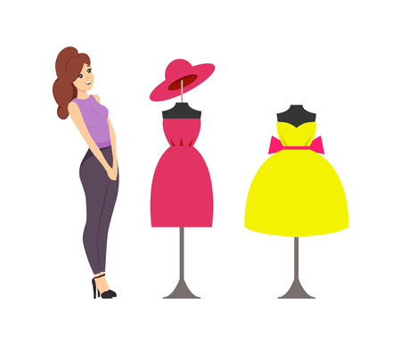 Woman looking at showcase with mannequins and clothes placed on vector. Buyer want to buy dress with bow, robe and hat. Ladies casual small headwear Çizim