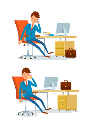 Business affairs of businessman working in office vector. People talking on phone with clients and parthners. Discussion about details of project