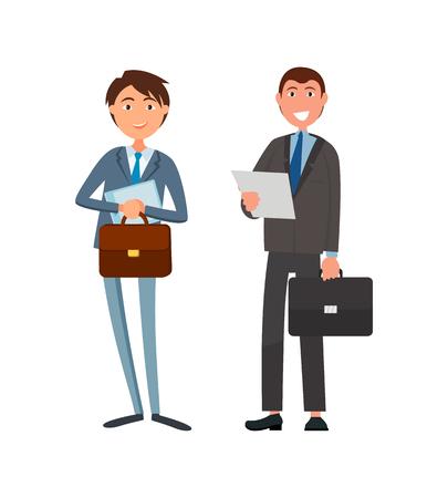 Trabajadores de oficina masculinos en trajes personajes de dibujos animados vectoriales. Líderes de gente de negocios con maletines y hojas de papel, gerentes exitosos gerentes aislados Ilustración de vector