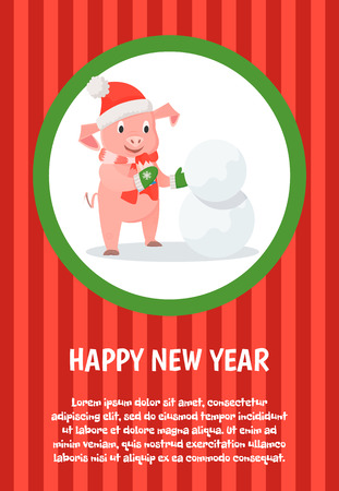 Happy New Year holidays card, piglet in Santa costume making snowman. Domestic animal in festive outfit, zodiac character outdoor activities vector Illustration