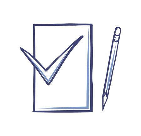 Foglio di carta bianco, matita appuntita per la scrittura e il segno di approvazione, vettore di forniture per ufficio. Documento, segno ok e strumento di cancelleria vettore icone isolate su bianco Vettoriali