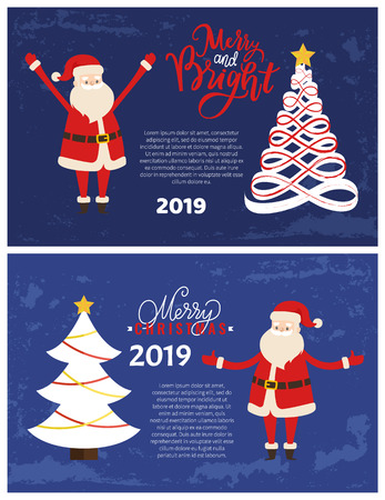 Vector abstract spruces, topped by star. Merry and bright greeting card with Santa holding hands up. Christmas and New Year 2019 postcard, Xmas tree. Illustration