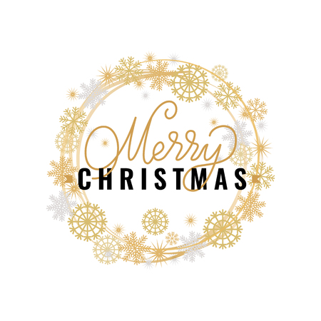 Merry Christmas festive greetings, calligraphic print with winter season wishes. Wishes on Xmas, lettering for postcards, vector wreath tag with snowflakes