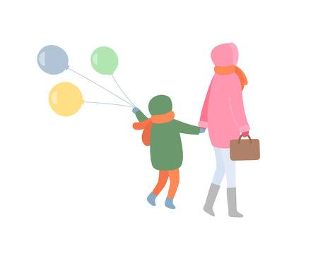 Mum and child turning back in jacket with hoot and scarf in trousers and boots. Mother holding handbag and kid going with balls, vector isolated on white Illustration