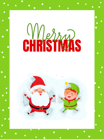 Merry Christmas greeting card with Santa Claus and Elf lying on snow. New Year cartoon characters Father frost and dwarf little helper on snowy ground, vector Standard-Bild - 125832218