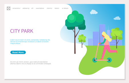 Girl on scooter vector concept illustration of blonde woman riding on grass, wearing sweater and pink helmet, in city park with buildings and clouds