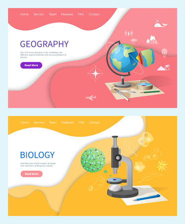 Biology discipline in school, geography subject vector. Globe model of planet Earth, population and compass signs. Microorganism research discovery