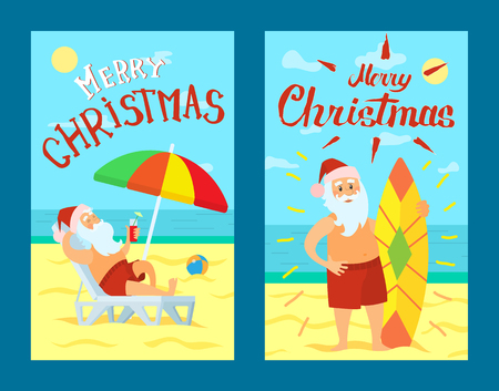 Merry Christmas, Santa Claus lying on sunbed under color umbrella vector. Father Frost in red hat and surfboarder, man at coastline on sea shore on sand Illustration