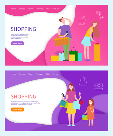 Shopping couple, woman and annoyed man posters set vector. Family of mother and daughter returning home from shops and stores with bags purchases