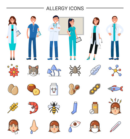 Allergy icons, medical care for sick patients vector. Professional treatment, preventing disease to evolve. Fish and beans, eggs shrimps, flower pet