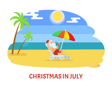 Christmas in July, sunny relaxing holiday on beach. Santa Claus in hat laying on chaise lounge with parasol, drinking and enjoy near water and palms vector Illustration