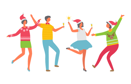 Cheerful people celebrating Christmas party. Cartoon man with glass of champagne, women in Santa Claus hat dancing. Colleagues at corporative, isolated vector Stock Vector - 125832237