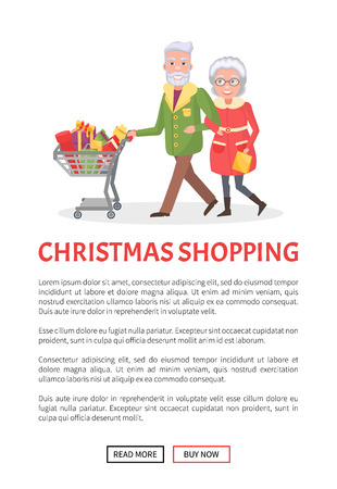 Christmas shopping, senior couple grandmother and grandfather at shop together. Elderly people with cart full of presents, wrapped gift boxes, vector Illustration