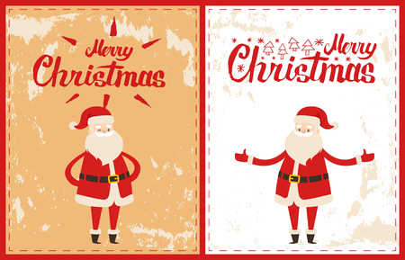 Cute Santa greetings on postcards with Merry Christmas lettering signs. Saint Nicholas wishes good new Year holidays gesturing by hands, vector cartoon character
