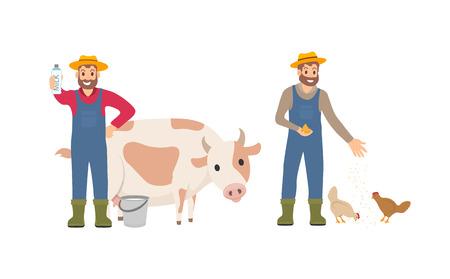 Granjero con sistema de paquete de leche. Persona con ganado de vaca de cubo. Cuidado de animales y cuidado de pollos, agricultura macho alimentando gallinas vector icono aislado Ilustración de vector