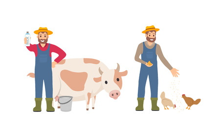 Farmer with milk package set. Person with bucket cow livestock. Animal tending and care for chickens, farming male feeding hens isolated icon vector Illustration