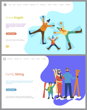 Family skiing, snow angels made by family members vector. People outdoors, lying in snow, father and mother with child, active lifestyle, sports games