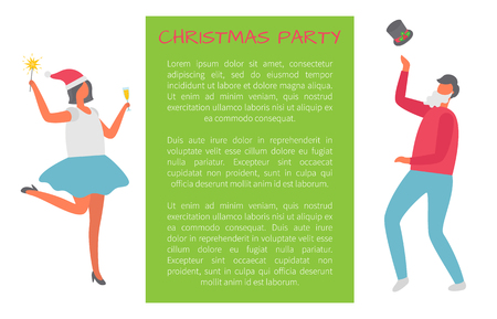 Christmas party, drunk people dancing at corporate fest celebrating New Year and Xmas holiday. Vector cartoon style characters on invitation poster
