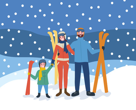 Skiing family, wintertime sports hobby of people vector. Vacation of parents and kid holding equipment for ski, skiers standing in snowfall outdoors