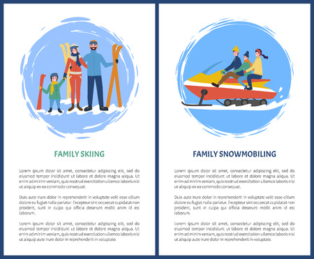 Family skiing, snowmobiling hobby in winter season vector. Poster with text sample, snowmobile with mother father and kid, children and parents set