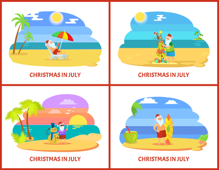 Christmas on beach in July image icons. Santa Claus in red hat and shorts standing near fir-tree with monkey and snowman from sand and surfboard vector Illustration