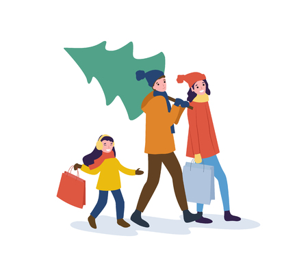 Preparation for Christmas holidays, winter season vector. Mother father and kid, man carrying bought pine tree, people returning home from shopping