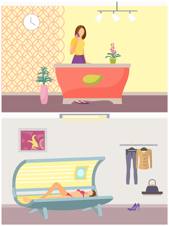 Spa salon and tanning procedure of woman in solarium. Beauty service industry set, tan gaining with help of machinery. Reception appointments vector Illustration