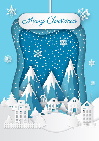 Christmas in Mountains. Night town and snow hill, fir-tree and snowflake with ice and sparkles. White foreground and blue background. Holiday postal vector