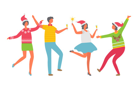 Cheerful people celebrating Christmas party. Cartoon man with glass of champagne, women in Santa Claus hat dancing. Colleagues at corporative, isolated vector