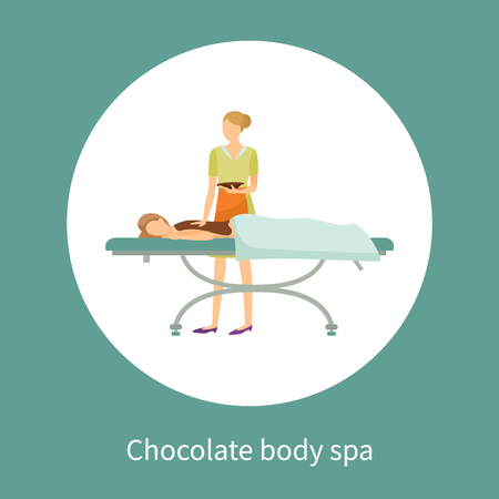 Chocolate body spa poster in circle. Girl covered by brown lotion on back lying on table, cosmetician makes procedure by spreading body by cream vector Illustration