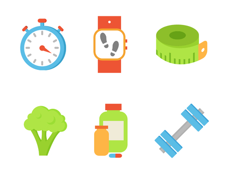 Time timer and broccoli isolated icons vector. Healthy lifestyle and vegetable sign. Dumbbells and wristband indicating quantity of sportsman steps