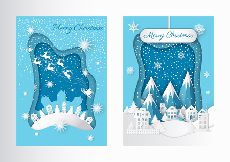 Merry Christmas in town. Tree and mountain, deer and Santa, house and hill, snowfall and ice with coldness, nature and holiday vector illustration Stock Illustratie