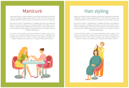 Spa salon, manicure and hand treatment, nails polishing vector. Isolated icon of manicurist and client, people talking at work. Pleasant procedure