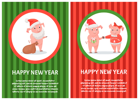 Postcard happy New Year with pigs. Smiling piggy in Santa red hat holding bag. Boy in cap holding gift box and hand of girl with bow and jersey vector