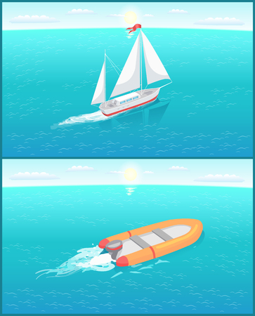 Inflatable rescue boat and ship with white canvas sailing in deep blue waters living trace. Safety rubber sailboat, transportation vehicle, motor rowing craft vector
