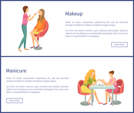 Makeup and visagiste working with clients face using brush. Posters set with text sample and web buttons. Manicure manicurist polishing nails vector