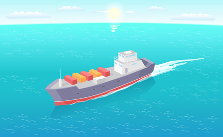 Cargo ship leaves trace in sea or ocean, marine commercial vessel. Transportation boat full of containers export goods, shipping and delivering by water Ilustração