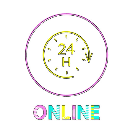 Online support service bright round linear icon. Internet help symbol with clock and arrow outline button template isolated flat vector illustration.
