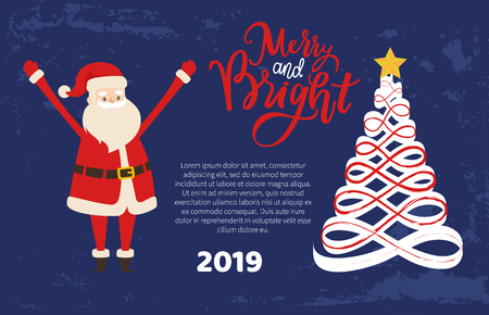 Merry and bright greeting card with Santa holding hands up. Christmas and New Year 2019 postcard, Xmas tree. Vector abstract spruces, topped by star Illustration